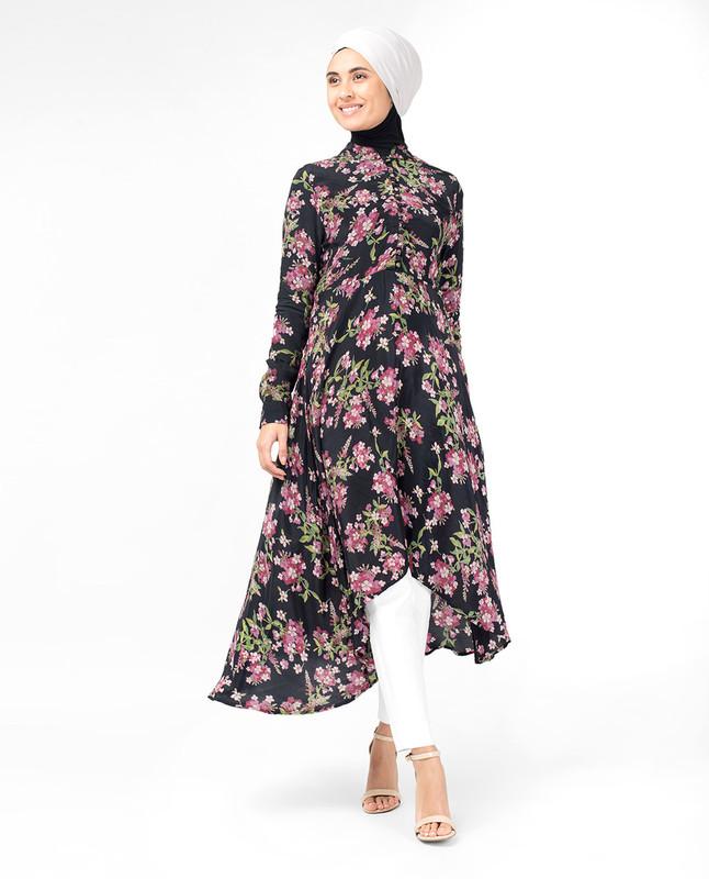 Oriental Floral High Low Midi Dress