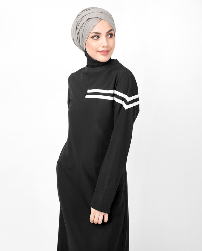 Black Contrast Bands Jilbab