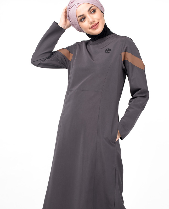 Shark Grey Diagonal Contrast Jilbab