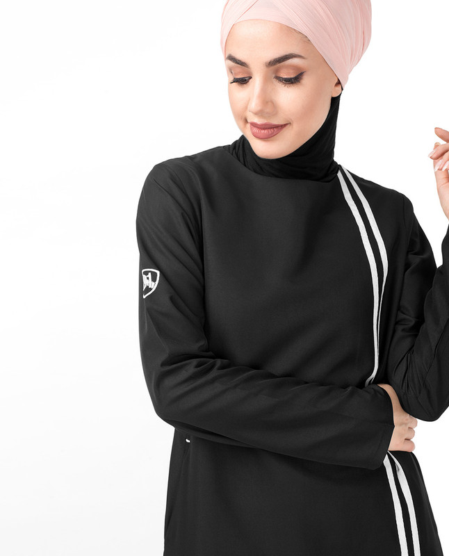 Double Contrast Stripe Black Jilbab