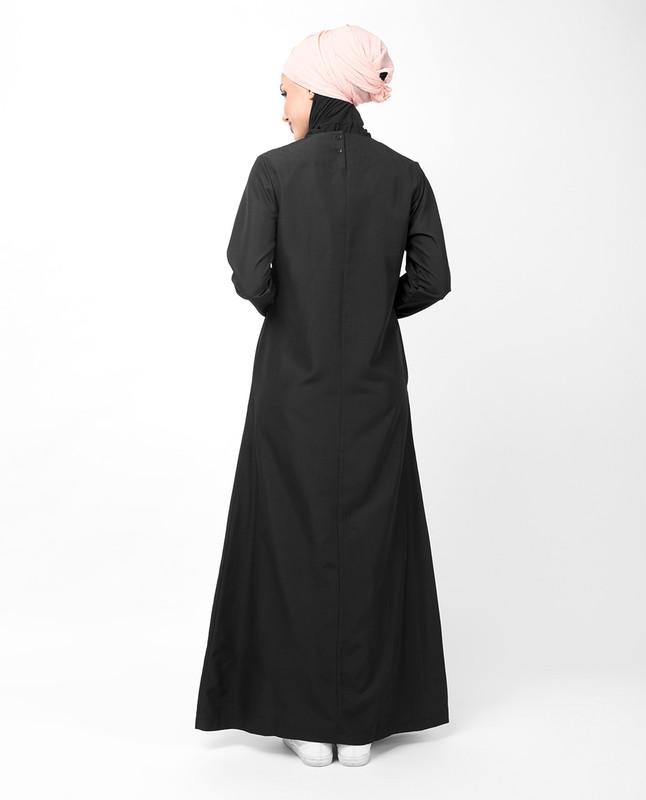 Double Contrast Stripe Black Jilbab