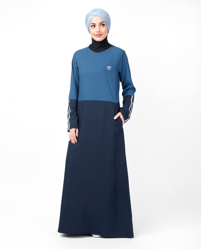 Blue Raglan Sleeve Sporty Jilbab