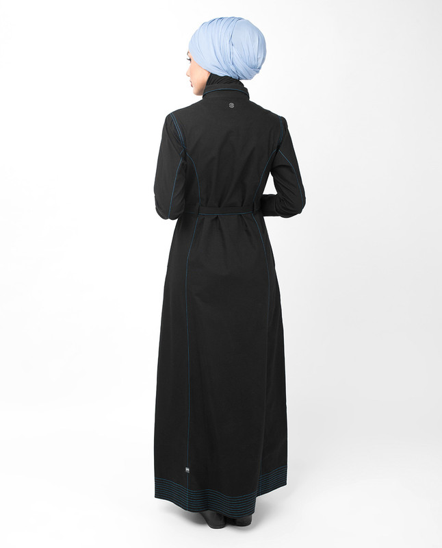 Full Front Open Black Waist Tie Up Abaya