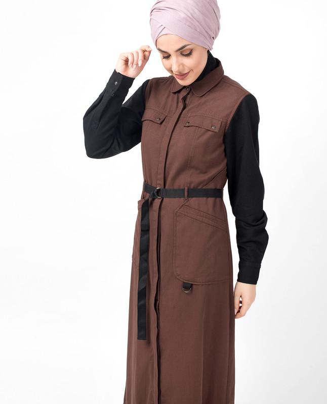 Brown Contrast Sleeve Jilbab