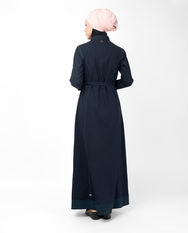 Full Front Open Navy Waist Tie Up Abaya