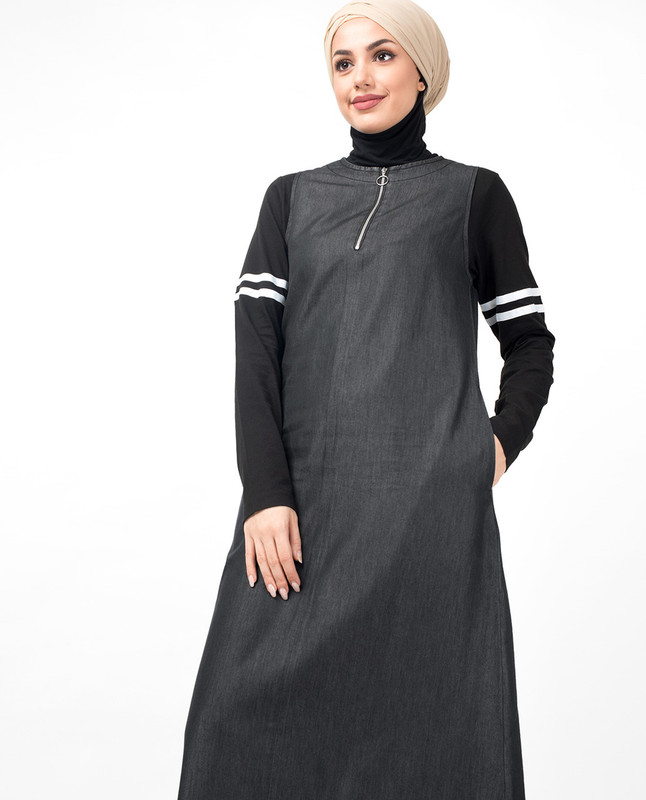 Dark Denim Contrast Sleeves Jilbab