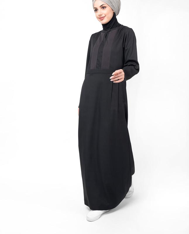 Double Pleat Skirt Black Abaya