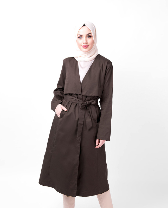 Coffee Wrap Trench Coat
