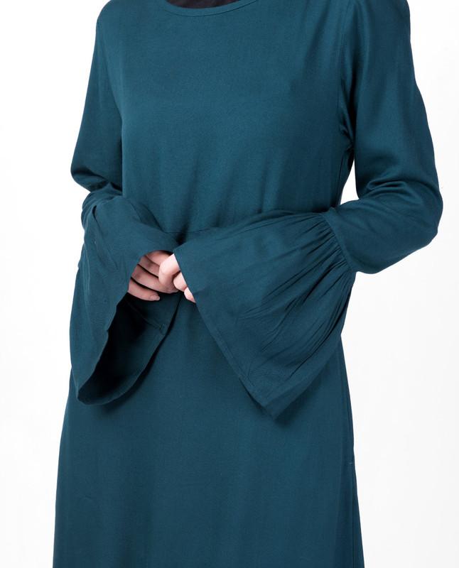 Teal Bell Sleeve Abaya