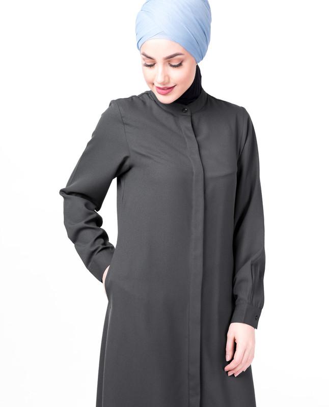 Steel Grey Full Front Open Abaya