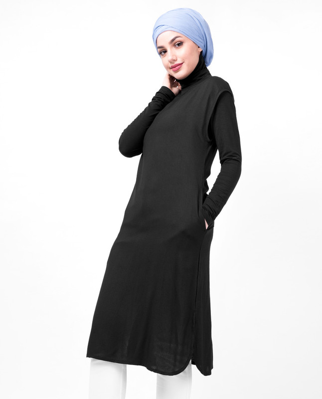 Boat Neck Black Slip Dress