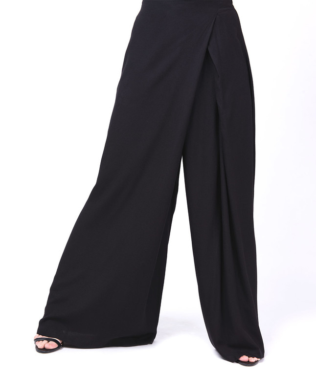 Overlap Wide Leg Black Trouser