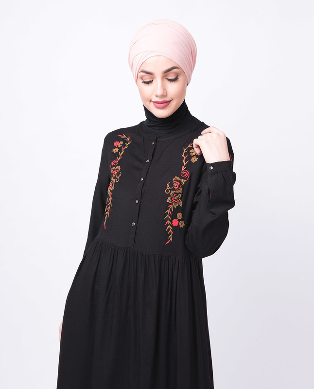 Black Floral Embroidered Abaya