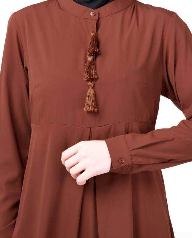 Rust Mandarin Collar High Low Midi Dress