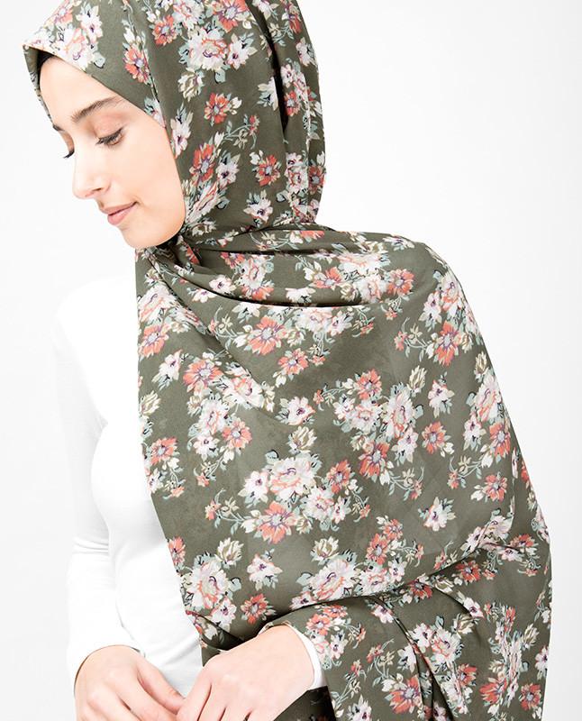 Natural Olive Floral Hijab