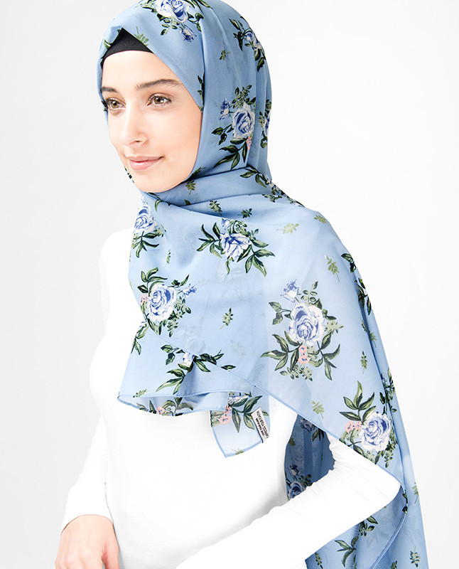 Powder Blue Floral Hijab