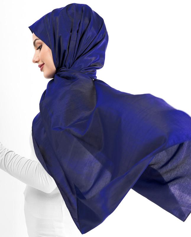 New Sodalite Blue Shiny Silky Polyester Hijab
