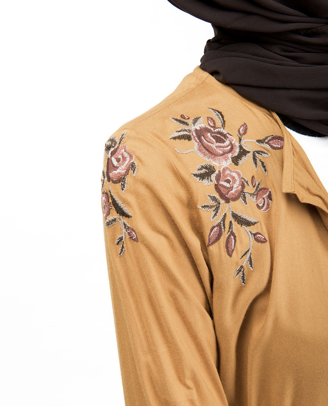 Mustard Floral Embroidered Outerwear