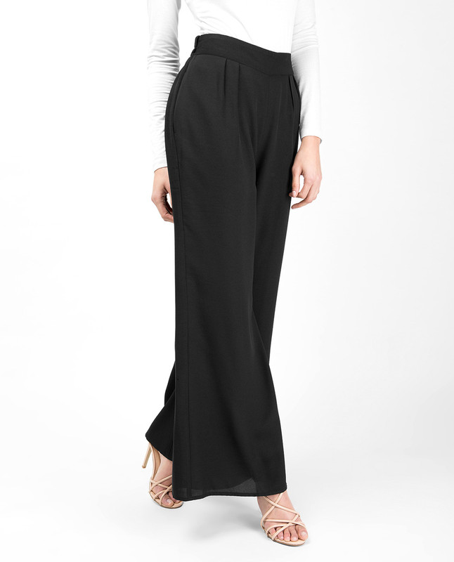 Black Flared Palazzo Trouser