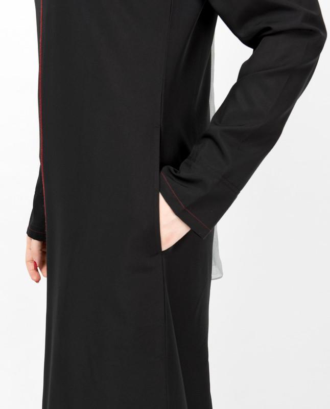 Black Contrast Trim High Low Jilbab