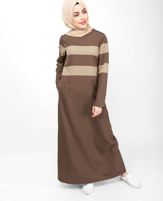 Brown Contrast Striper Jilbab