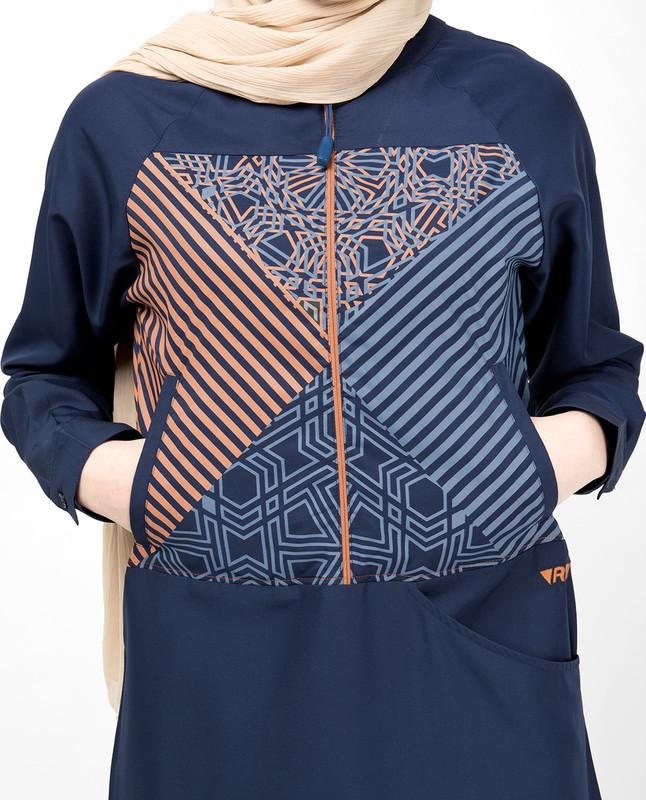 Insignia Blue Geometric Print Jilbab