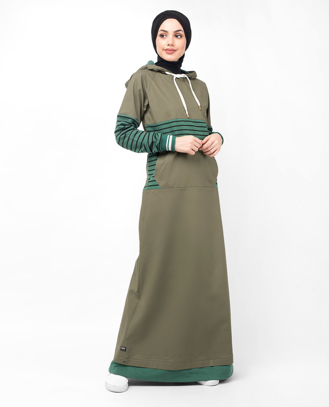 Khaki Casual Hooded Jilbab