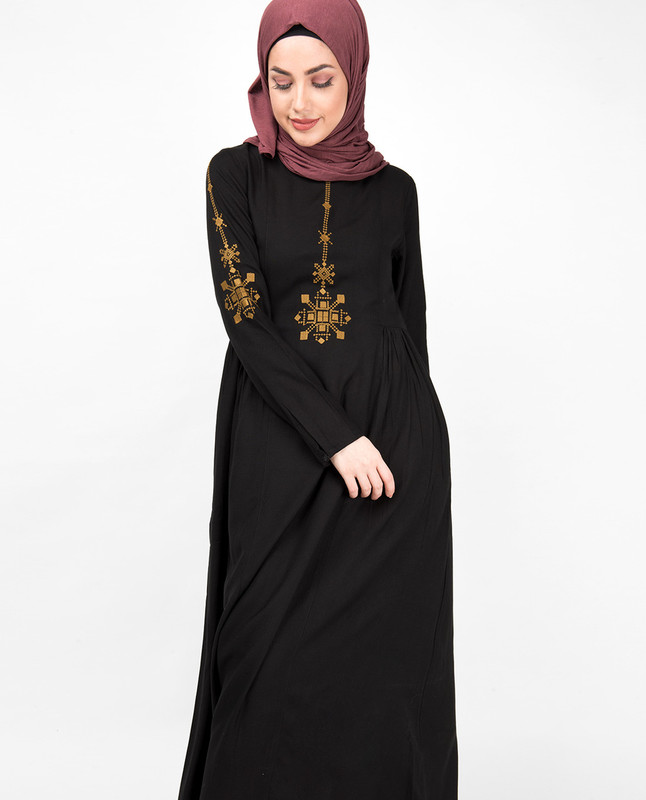 Midnight Black Gold Embroidery Abaya