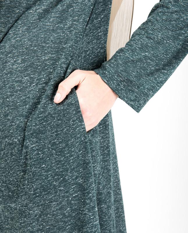 Green Slub Full Front Open Outerwear