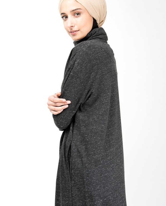 Grey Roll Neck Box Cut Jersey Dress