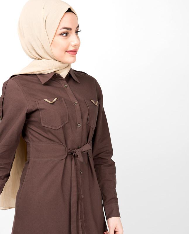 Full Front Open Shirt Collar Mustang Brown Abaya