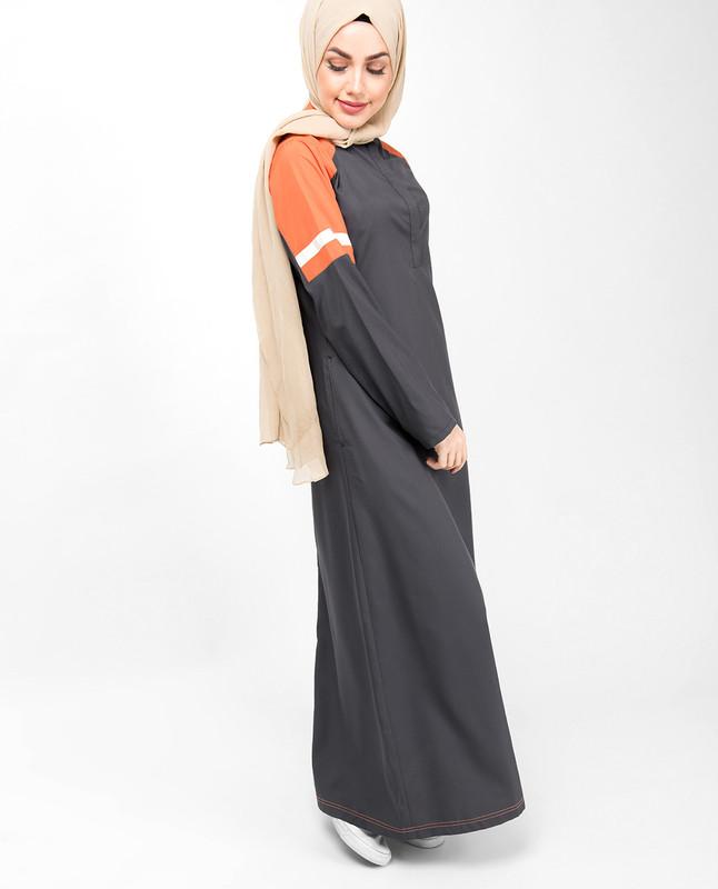 Grey & Orange Raised Neck Jilbab