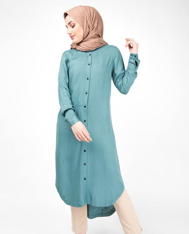 Blue Smoke High Low Shirt Dress