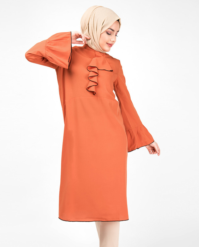 Arabesque Orange Ruffled Midi Dress