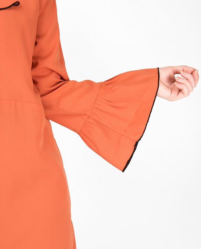 Arabesque Orange Ruffled Midi Dress