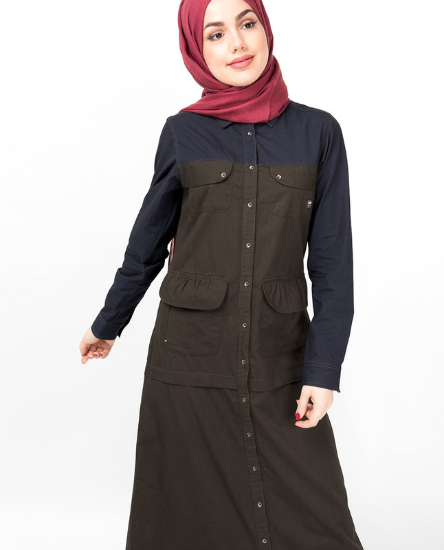 Navy & Olive Full Front Open Abaya