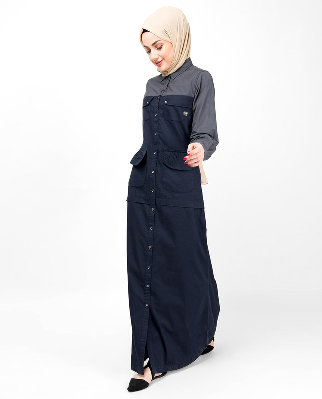 Navy & Grey Full Front Open Abaya