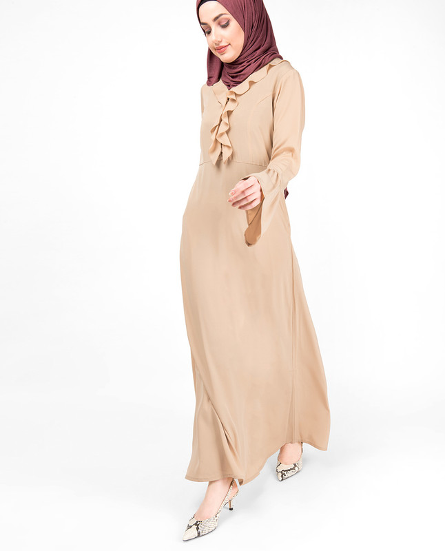 Light weight Ruffle Neck Sand Abaya