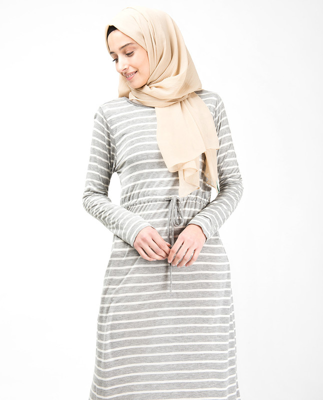 Grey Striped Maxi Dress