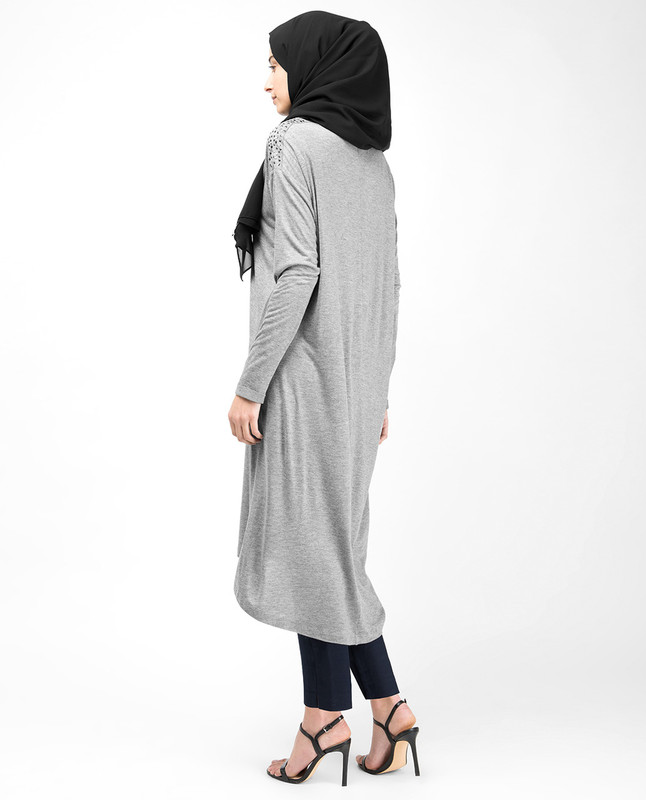 Boat Neck Grey Studded Long Top