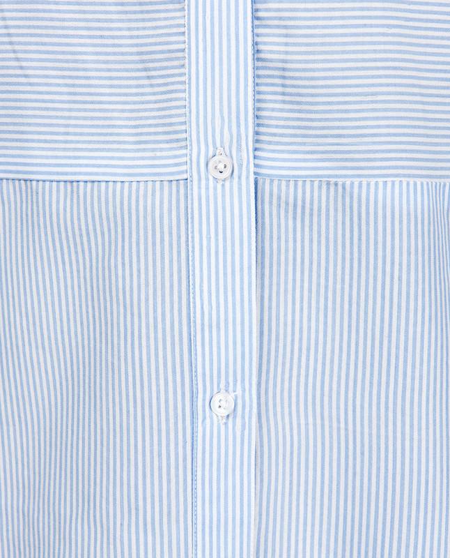 Full Front Open Breton High Low Shirt Dress