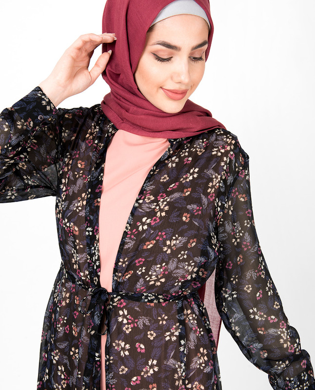 Navy Floral Front Open Outerwear