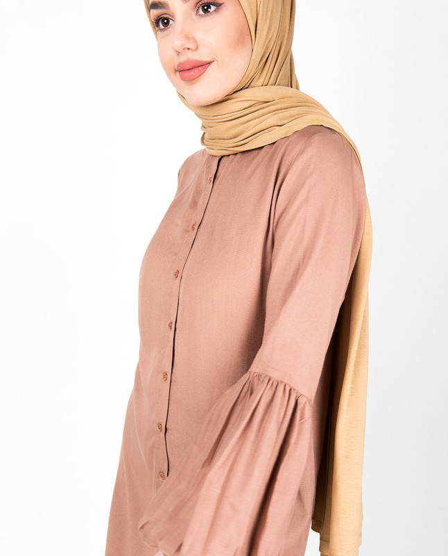 Balloon Sleeve Warm Brown Shirt Dress