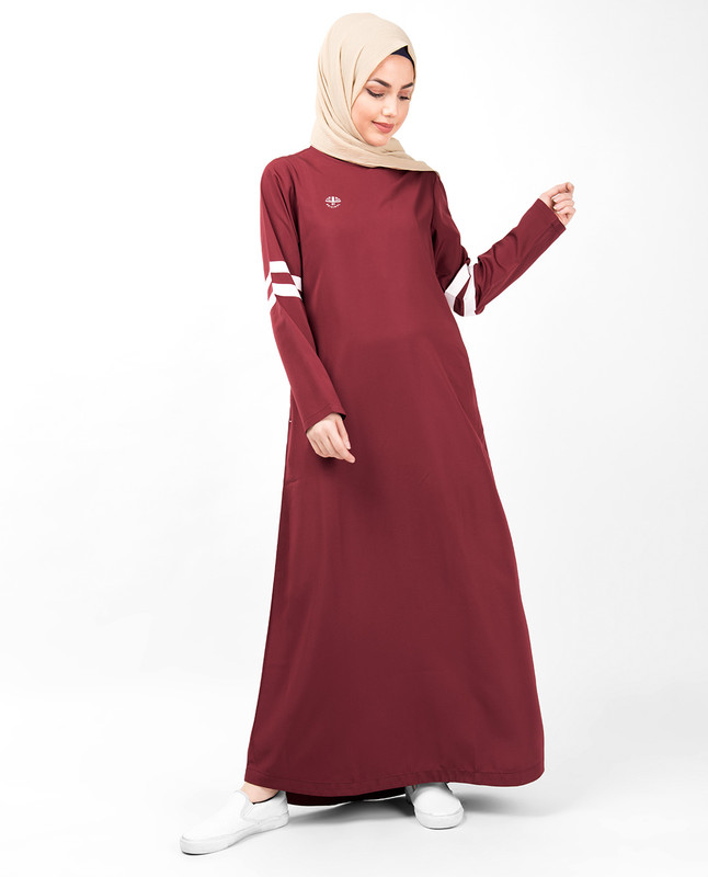 Ruby Red Curved Hem Jilbab