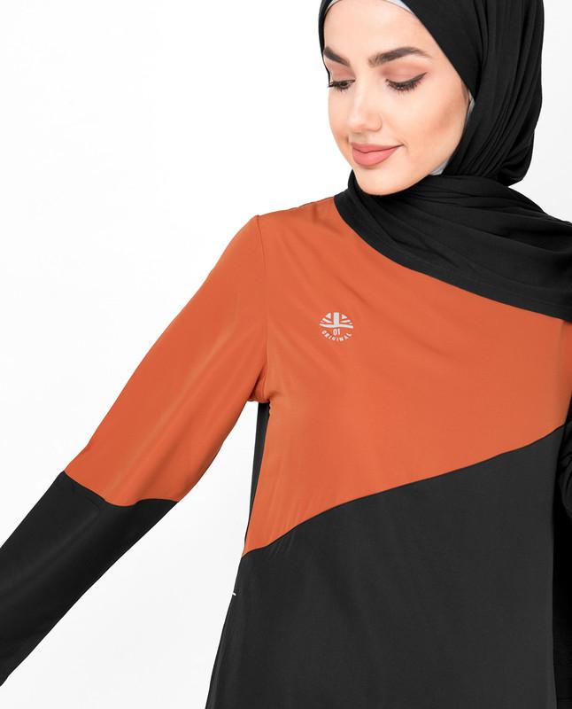 Black & Orange Diagonal Contrast Jilbab