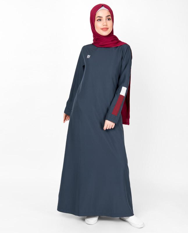 Iris Blue Round Neck Jilbab