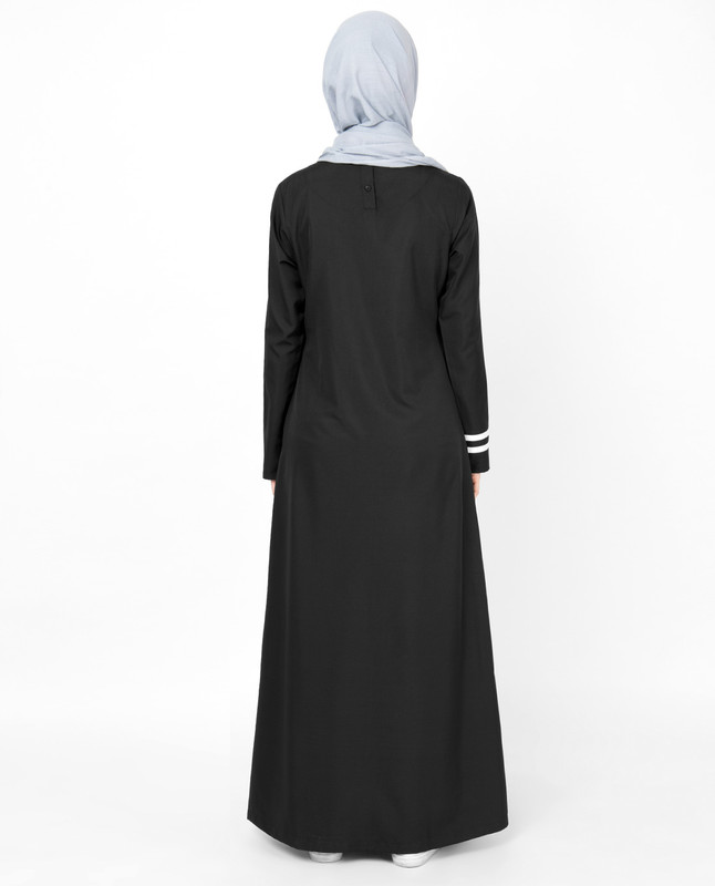 Black & White Top Stitch Jilbab