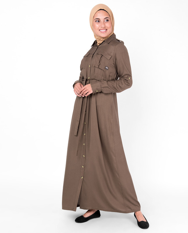 Teak Brown Full Front Open Jilbab