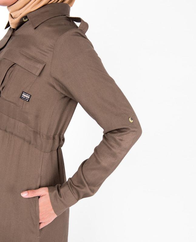Teak Brown Full Front Open Jilbab