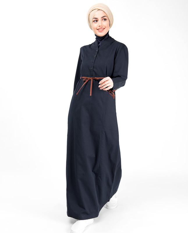 Midnight Blue Tie Up Sleeve Abaya